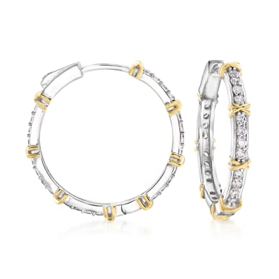 1.20 ct. t.w. CZ Hoop Earrings in Sterling Silver with 18kt Gold Over Sterling