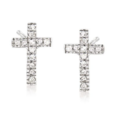Cross Earrings with Diamond Accents in Sterling Silver