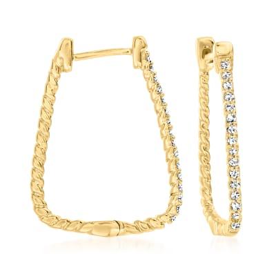 .10 ct. t.w. Diamond Roped Hoop Earrings in 18kt Gold Over Sterling
