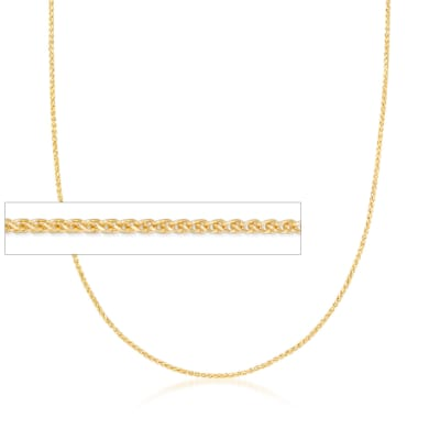 1mm 14kt Yellow Gold Wheat Chain Necklace