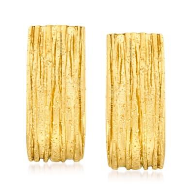 Italian 18kt Gold Over Sterling Sparkle Tree Bark Earrings