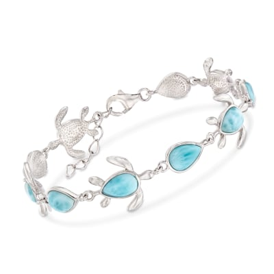 Larimar Turtle Bracelet in Sterling Silver