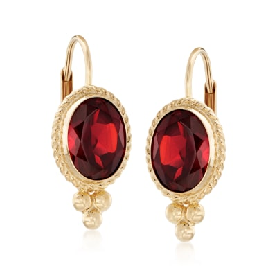 1.60 ct. t.w. Garnet Twist-Edge Earrings in 14kt Yellow Gold