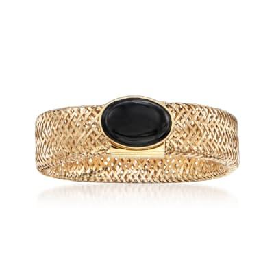 Italian Black Onyx Mesh Ring in 14kt Yellow Gold
