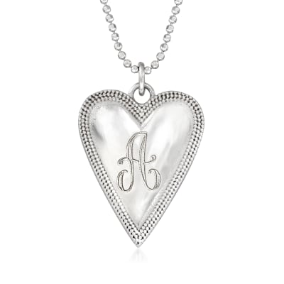Italian Sterling Silver Engravable Heart Necklace