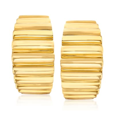 C. 1980 Vintage Tiffany Jewelry 18kt Yellow Gold Ridged Clip-On J-Hoop Earrings
