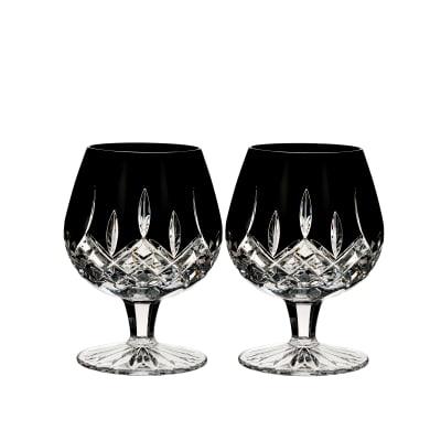 """Waterford Crystal """"Black"""" Set of 2 Lismore Brandy Glasses"""