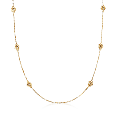 Italian 18kt Gold Over Sterling Knot Station Necklace