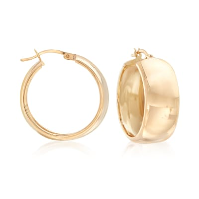 18kt Gold Over Sterling Wide Hoop Earrings