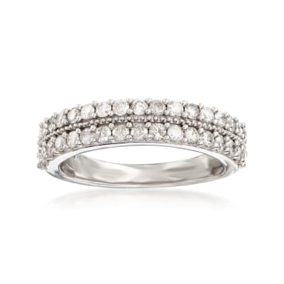 .75 ct. t.w. Diamond Two-Row Ring in Sterling Silver