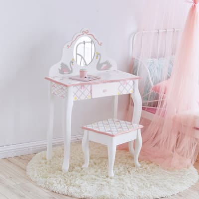 Child's Swan Lake White and Pink Vanity and Stool Set