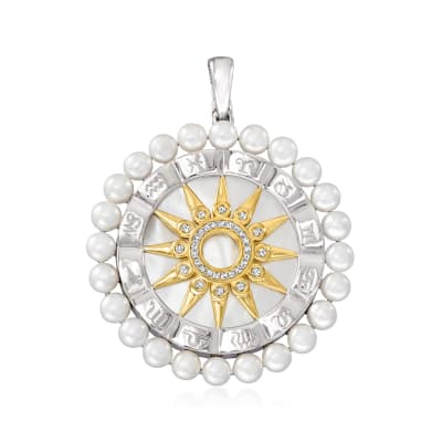 Mother-Of-Pearl and 3.5-4mm Cultured Pearl Zodiac Pendant with .10 ct. t.w. Diamonds in Two-Tone Sterling Silver