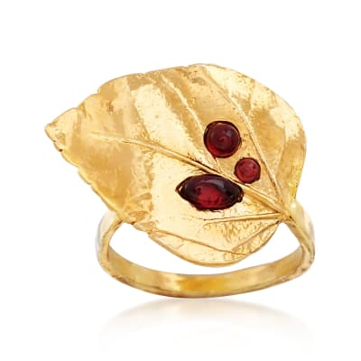 .70 ct. t.w. Garnet Leaf Ring in 18kt Gold Over Sterling