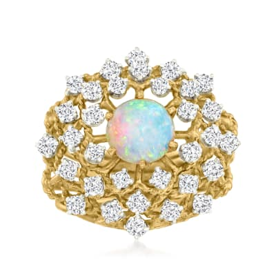 C. 1970 Vintage Opal and 1.20 ct. t.w. Diamond Cluster Ring in 10kt Yellow Gold