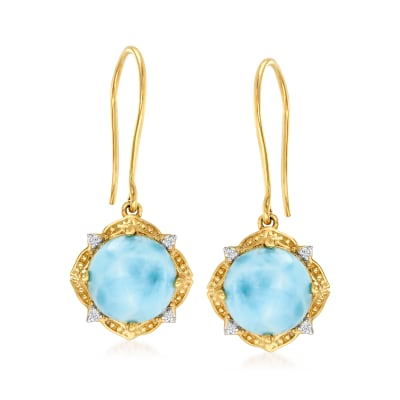 Larimar Drop Earrings with Diamond Accents in 14kt Yellow Gold