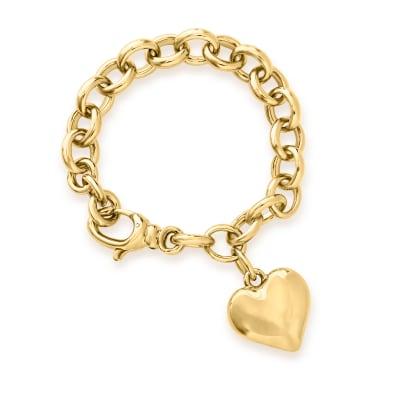 Italian Andiamo 14kt Yellow Gold Over Resin Heart Charm Bracelet