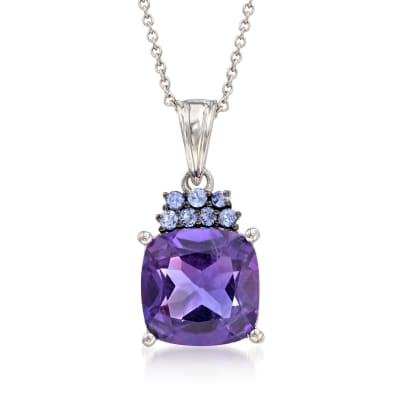 5.25 Carat Amethyst and .20 ct. t.w. Tanzanite Pendant Necklace in Sterling Silver