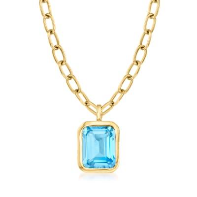 4.00 Carat Swiss Blue Topaz Pendant Necklace in 18kt Gold Over Sterling