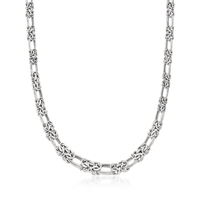 Sterling Silver Flat Byzantine Double-Link Necklace