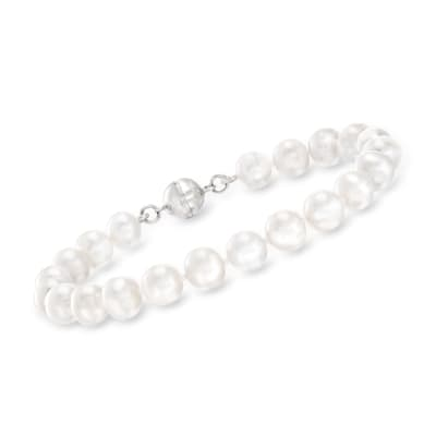 7-8mm Cultured Pearl Bracelet in Sterling Silver with Magnetic Clasp