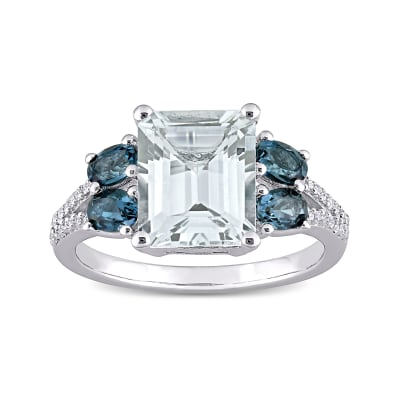 3.00 Carat Aquamarine, 1.00 ct. t.w. London Blue Topaz and .11 ct. t.w. Diamond Ring in Sterling Silver