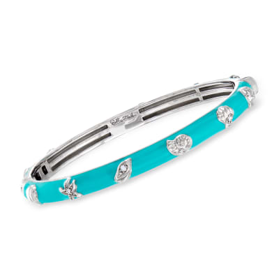 "Belle Etoile ""Seashells"" Aqua Enamel and .15 ct. t.w. CZ Bangle Bracelet in Sterling Silver"