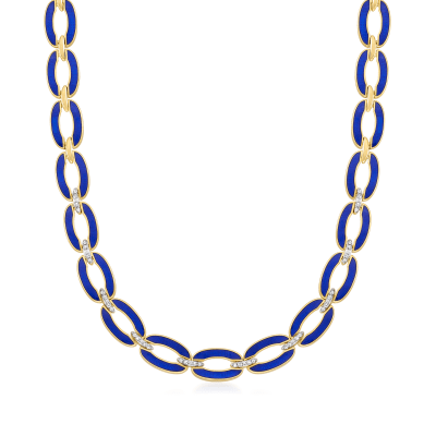 .40 ct. t.w. Diamond and Blue Enamel Link Necklace in 18kt Gold Over Sterling