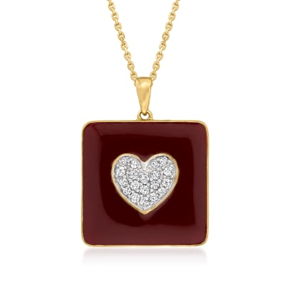 .25 ct. t.w. Diamond Heart Pendant Necklace with Dark Red Enamel in 18kt Gold Over Sterling