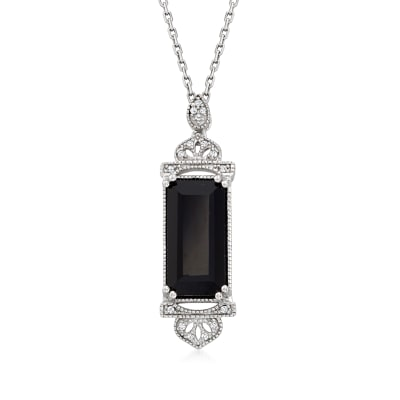 Black Onyx Pendant Necklace with Diamond Accents in Sterling Silver