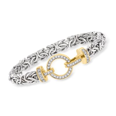 .41 ct. t.w. Diamond Byzantine Bracelet in Sterling Silver with 18kt Gold Over Sterling