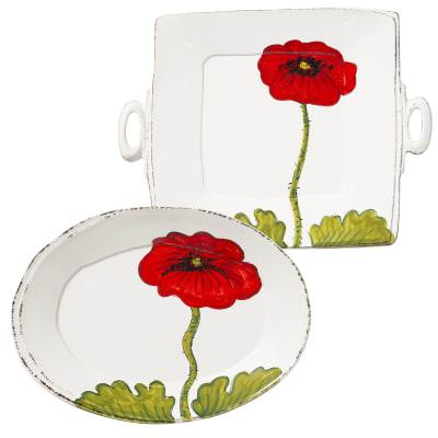 "Vietri ""Lastra"" Poppy Platter from Italy"