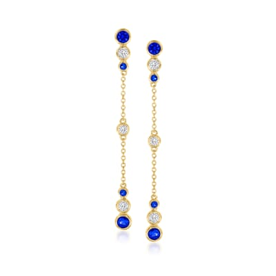 .70 ct. t.w. Simulated Sapphire and .50 ct. t.w. CZ Drop Earrings in 18kt Gold Over Sterling