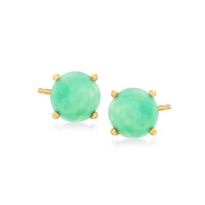 Jade Stud Earrings in 18kt Gold Over Sterling
