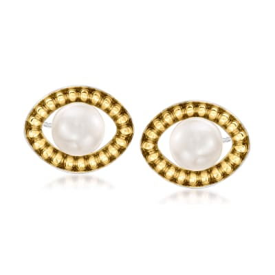 8-8.5mm Cultured Pearl Earrings in Sterling Silver and 14kt Yellow Gold