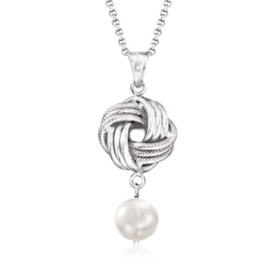 Italian 8mm Cultured Pearl Love Knot Pendant Necklace in Sterling Silver