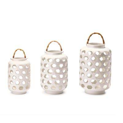 Set of 3 White Lattice Ceramic Lanterns with Bamboo Handles