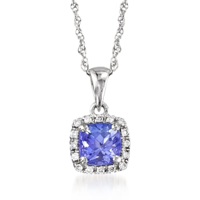 .70 Carat Tanzanite Pendant Necklace with Diamond Accents in 14kt White Gold
