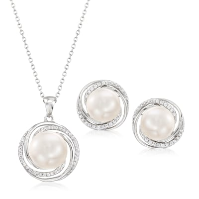 9-10mm Cultured Pearl and .50 ct. t.w. CZ Jewelry Set: Earrings and Pendant Necklace in Sterling Silver