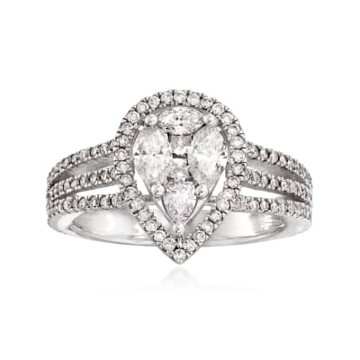 1.25 ct. t.w. Diamond Pear-Shaped Cluster Ring in 14kt White Gold