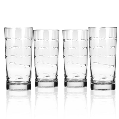 "Rolf Glass ""School of Fish"" Set of 4 Highball Glasses"