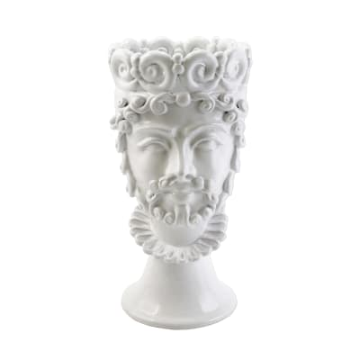 "Vietri ""Sicilian Heads"" White Large King Head from Italy"