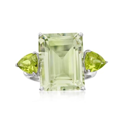 11.00 Carat Emerald-Cut Prasiolite and 1.40 ct. t.w. Peridot Ring in Sterling Silver