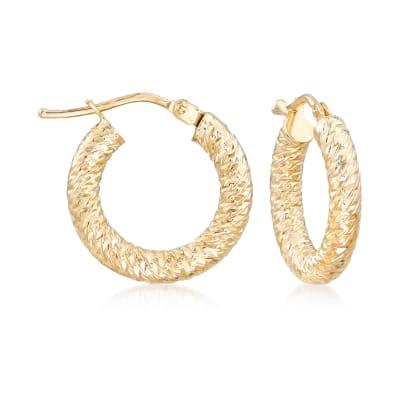 Italian 14kt Yellow Gold Diamond-Cut Hoop Earrings