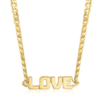 """14kt Yellow Gold """"Love"""" Curb-Link Choker Necklace"""