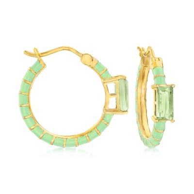 2.00 ct. t.w. Prasiolite and Green Enamel Hoop Earrings in 18kt Gold Over Sterling