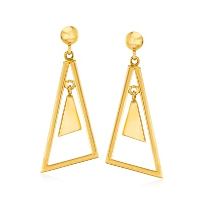 14kt Yellow Gold Multi-Triangle Drop Earrings