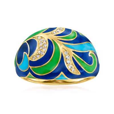 Blue and Green Enamel Ring with Diamond Accents in 18kt Gold Over Sterling