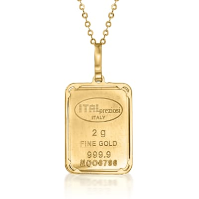 Italian 24kt Yellow Gold Two-Gram Ingot Pendant Necklace with 14kt Yellow Gold Frame