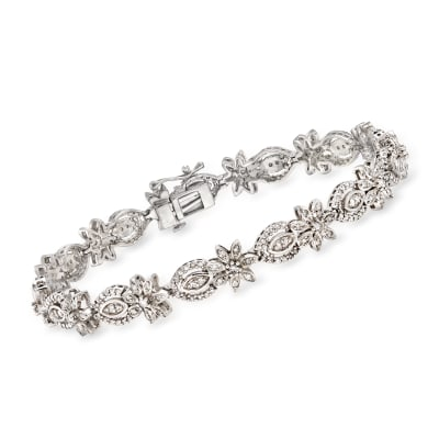 1.50 ct. t.w. Diamond Floral Bracelet in Sterling Silver