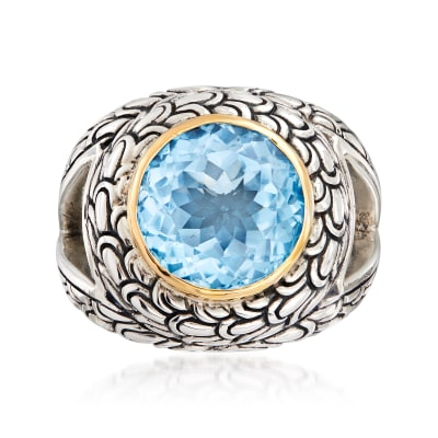 2.40 Carat Sky Blue Topaz Scrollwork Ring in Sterling Silver with 18kt Yellow Gold